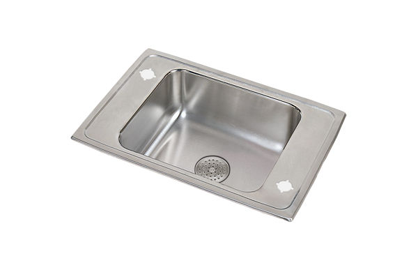 "Elkay Lustertone Stainless Steel 25"" x 17"" x 7-5/8"", Single Bowl Top Mount Classroom Sink with Perfect Drain Grid"