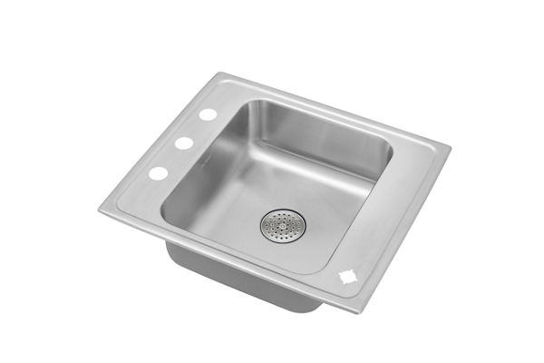 "Elkay Lustertone Stainless Steel 25"" x 22"" x 5-1/2"", Single Bowl Top Mount Classroom Sink with Perfect Drain Grid"