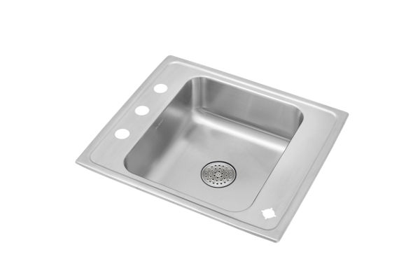 "Elkay Lustertone Stainless Steel 25"" x 22"" x 7-5/8"", Single Bowl Top Mount Classroom Sink with Perfect Drain Grid"