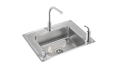 "Image for Elkay Lustertone Stainless Steel 28"" x 22"" x 7-5/8"", Single Bowl Top Mount Classroom Sink + Faucet/Bubbler Kit from ELKAY"