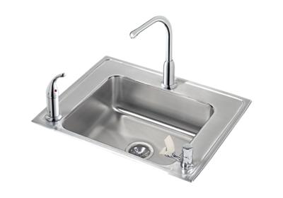 "Image for Elkay Lustertone Stainless Steel 28"" x 22"" x 6-1/2"", Single Bowl Top Mount Classroom ADA Sink + Faucet/Bubbler Kit from ELKAY"
