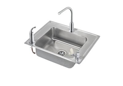 "Image for Elkay Lustertone Stainless Steel 28"" x 22"" x 5"", Single Bowl Top Mount Classroom ADA Sink + Faucet/Bubbler Kit from ELKAY"