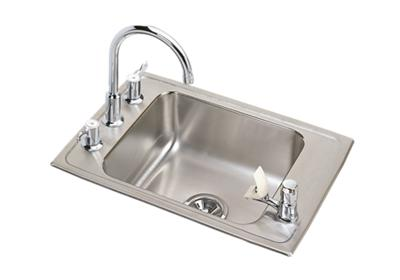 "Image for Elkay Lustertone Stainless Steel 31"" x 19-1/2"" x 7-5/8"", Single Bowl Top Mount Classroom Sink + Faucet/Bubbler Kit from ELKAY"