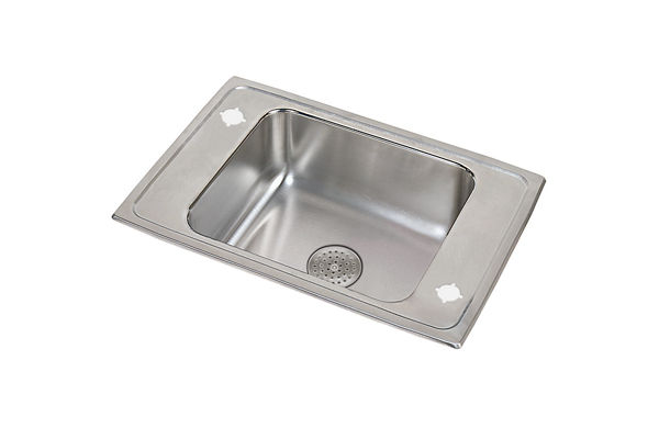 "Elkay Lustertone Stainless Steel 31"" x 19-1/2"" x 7-5/8"", Single Bowl Top Mount Classroom Sink w/ Perfect Drain Grid"