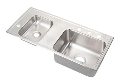 "Image for Elkay Lustertone Stainless Steel 37-1/4"" x 17"" x 5"", Double Bowl Top Mount Classroom Sink from ELKAY"