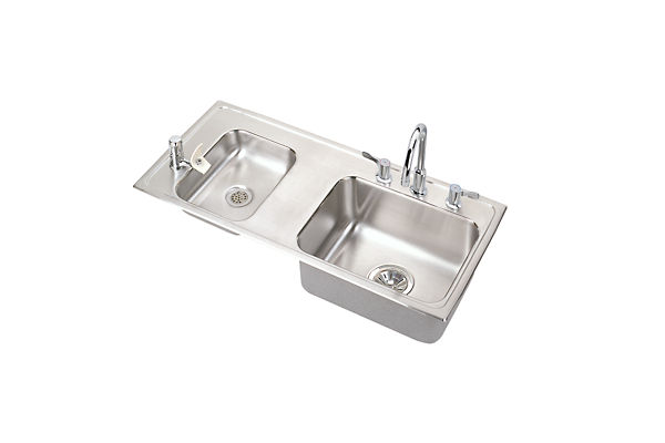 Lustertone® Stainless Steel Double Bowl Top Mount Sink + Faucet Kit
