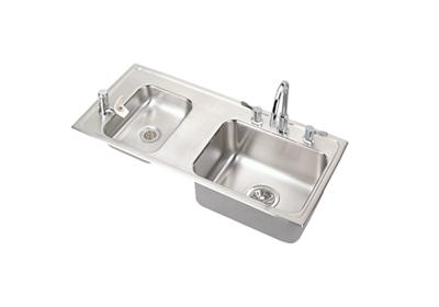 "Image for Elkay Lustertone Stainless Steel 37-1/4"" x 17"" x 7-5/8"", Double Bowl Top Mount Classroom Sink + Faucet/Bubbler Kit from ELKAY"