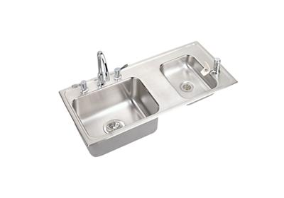 "Image for Elkay Lustertone Stainless Steel 37-1/4"" x 17"" x 7-5/8"", 60/40 Double Bowl Top Mount Classroom Sink+Faucet/Bubbler from ELKAY"