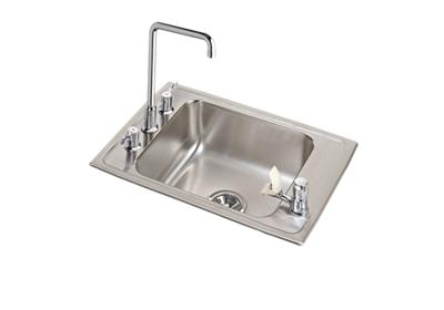 "Image for Elkay Lustertone Stainless Steel 25"" x 17"" x 7-5/8"", Single Bowl Top Mount Classroom Sink + Faucet/Bubbler Kit from ELKAY"