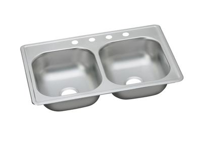 "Image for Dayton Stainless Steel 33"" x 19"" x 8"", Equal Double Bowl Top Mount Sink from ELKAY"