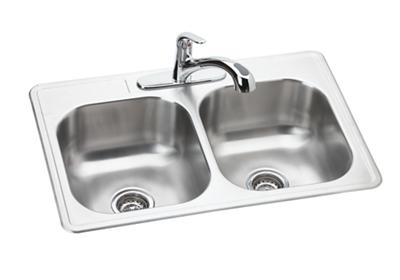 "Image for Dayton Stainless Steel 33"" x 22"" x 8-1/16"", Equal Double Bowl Drop-in Sink and Faucet Kit from ELKAY"