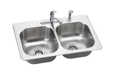 "Image for Dayton Stainless Steel 33"" x 22"" x 8-1/16"", Equal Double Bowl Top Mount Sink Kit from ELKAY"