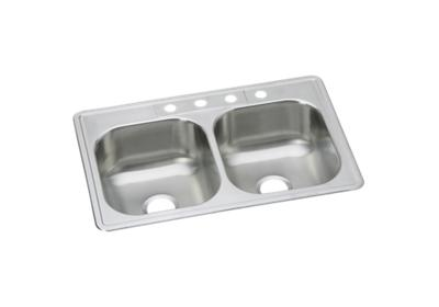"Image for Dayton Stainless Steel 33"" x 21-1/4"" x 8-1/16"", Equal Double Bowl Top Mount Sink from ELKAY"