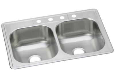 "Image for Dayton Stainless Steel 33"" x 22"" x 8-1/16"", Equal Double Bowl Top Mount Sink from ELKAY"