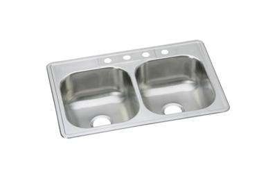 "Image for Dayton Stainless Steel 33"" x 22"" x 8-1/16"", Equal Double Bowl Drop-in Sink from ELKAY"