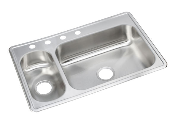 "Dayton Stainless Steel 33"" x 22"" x 8-1/8"", 30/70 Double Bowl Top Mount Sink"