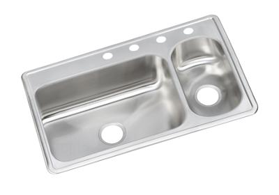 "Image for Dayton Stainless Steel 33"" x 22"" x 8-1/8"", 70/30 Double Bowl Top Mount Sink from ELKAY"