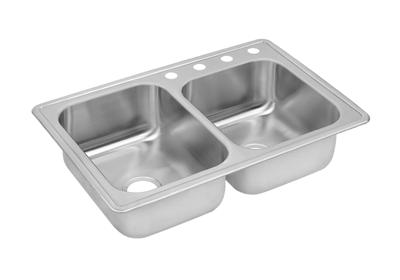"Image for Dayton Stainless Steel 33"" x 22"" x 8-3/16"", Offset Double Bowl Top Mount Sink from ELKAY"