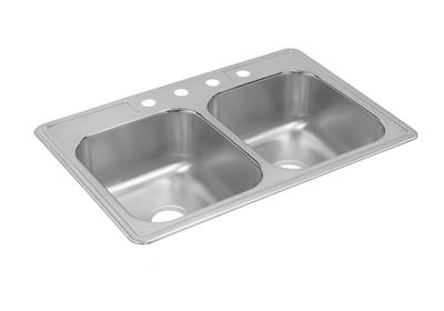 "Image for Dayton Stainless Steel 33"" x 22"" x 8-3/16"", Equal Double Bowl Top Mount Sink from ELKAY"
