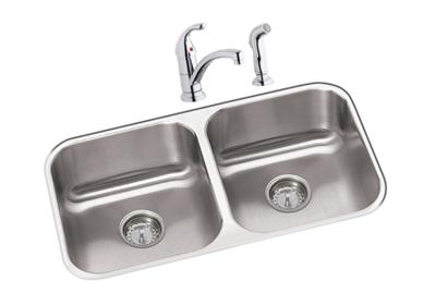 "Image for Dayton Stainless Steel 31-3/4"" x 18-1/4"" x 8"", Equal Double Bowl Undermount Sink and Faucet Kit from ELKAY"