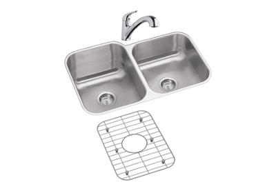 "Image for Dayton Stainless Steel 31-3/4"" x 20-1/2"" x 10"", Offset Double Bowl Undermount Sink and Faucet Kit from ELKAY"