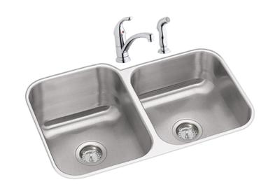 "Image for Dayton Stainless Steel 31-3/4"" x 20-1/2"" x 10"", Offset Double Bowl Undermount Sink Kit from ELKAY"