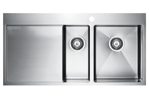 Stainless Steel 1001 x 511 x 201 Double Bowl With One Drainer Top Mount Kitchen Sink