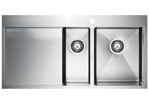 Image for Stainless Steel 1001 x 511 x 201 Double Bowl With One Drainer Top Mount Kitchen Sink from Elkay Middle East