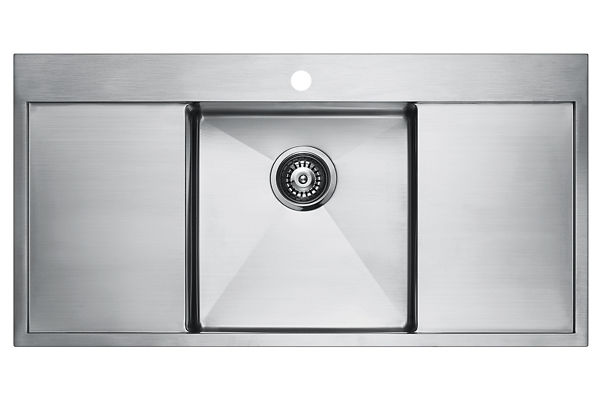 Stainless Steel 1001 x 511 x 196 Single Bowl With Double Drainer Top Mount Kitchen Sink