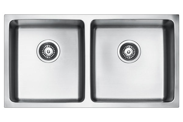 Stainless Steel 841 x 450 x 216 Double Bowl Undermount Kitchen Sink