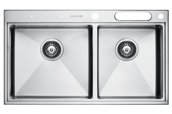 Stainless Steel 841 x 490 x 216 Double Bowl Top Mount Kitchen Sink