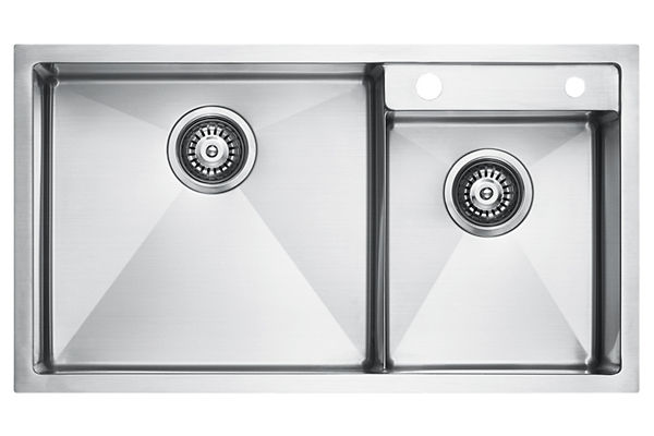 Stainless Steel 803 x 450 x 226 Double Bowl Top Mount Kitchen Sink