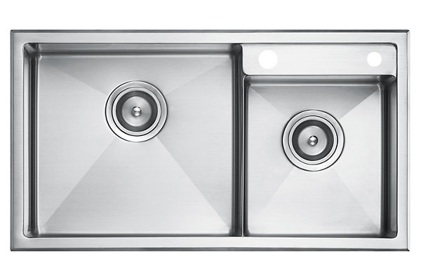 Stainless Steel 734 x 409 x 211 Double Bowl Top Mount Kitchen Sink