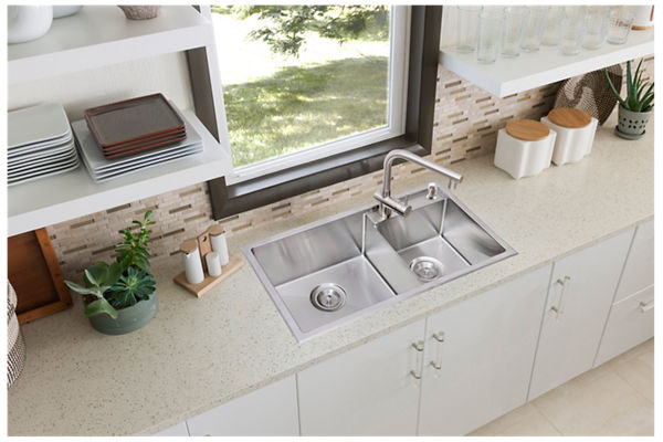 Stainless Steel 785 x 429 x 216 Double Bowl Top Mount Kitchen Sink