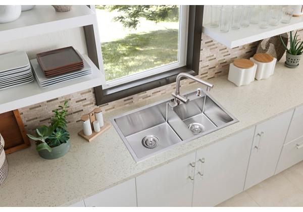 Image for Stainless Steel 785 x 429 x 216 Double Bowl Top Mount Kitchen Sink from Elkay Middle East