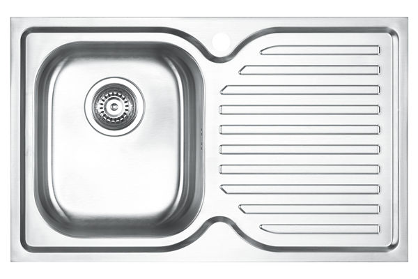 Stainless Steel 780 x 480 x 198 Single Bowl With One Drainer Top Mount Kitchen Sink