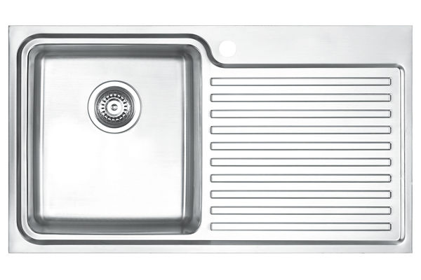 Stainless Steel 841 x 480 x 213 Single Bowl With One Drainer Top Mount Kitchen Sink