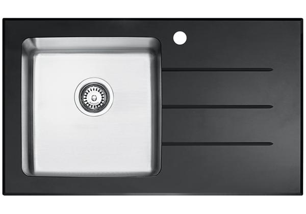 Image for Glass Top And Stainless Steel Bowl 861 x 511 x 221 Single Bowl With One Drainer Top Mount Kitchen Sink from Elkay Asia Pacific