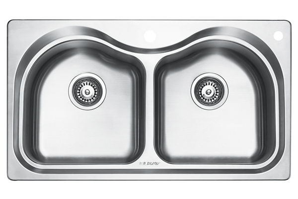 Stainless Steel 851 x 480 x 221 Double Bowl Top Mount Kitchen Sink