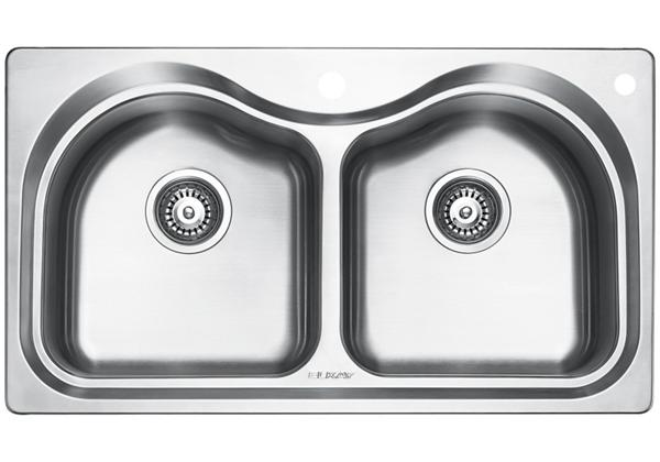 Image for Stainless Steel 851 x 480 x 221 Double Bowl Top Mount Kitchen Sink from Elkay Middle East
