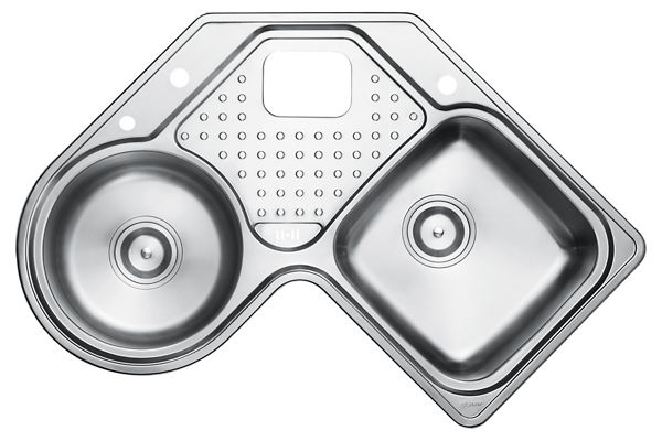 Stainless Steel 899 x 899 x 221 Double Bowl With One Drainer Top Mount Kitchen Sink