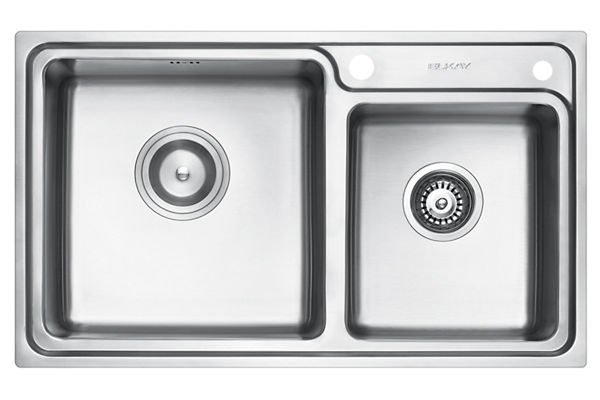 Stainless Steel 810 x 480 x 231 Double Bowl Top Mount Kitchen Sink