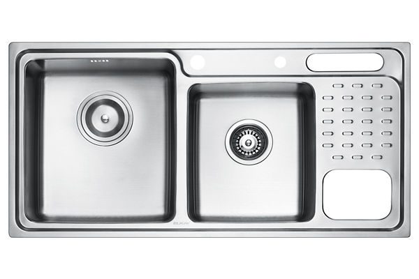 Stainless Steel 960 x 480 x 231 Double Bowl With One Drainer Top Mount Kitchen Sink