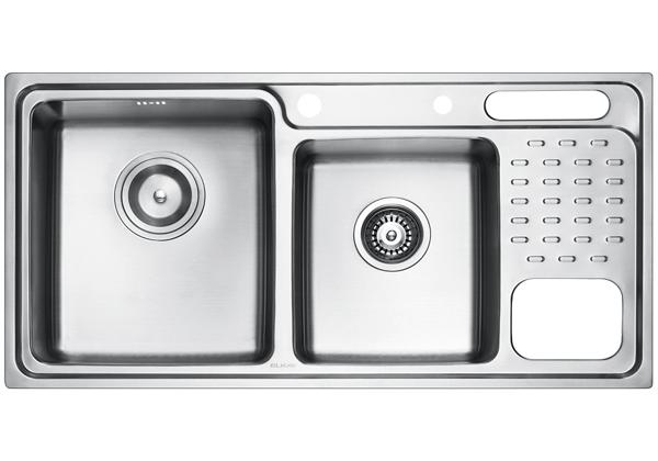 Image for Stainless Steel 960 x 480 x 231 Double Bowl With One Drainer Top Mount Kitchen Sink from Elkay Middle East