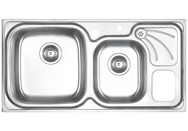 Image for Stainless Steel 960 x 485 x 198 Double Bowl With One Drainer Top Mount Kitchen Sink from Elkay Middle East