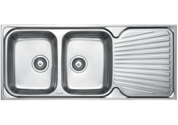 Image for Stainless Steel 1161 x 500 x 191 Double Bowl With One Drainer Top Mount Kitchen Sink from Elkay Middle East