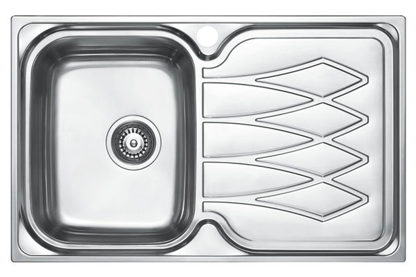 Stainless Steel 798 x 498 x 191 Single Bowl With One Drainer Top Mount Kitchen Sink