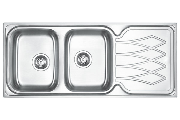 Stainless Steel 1161 x 500 x 191 Double Bowl With One Drainer Top Mount Kitchen Sink