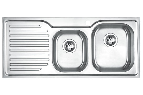 Stainless Steel 1082 x 480 x 198 Double Bowl With One Drainer Top Mount Kitchen Sink