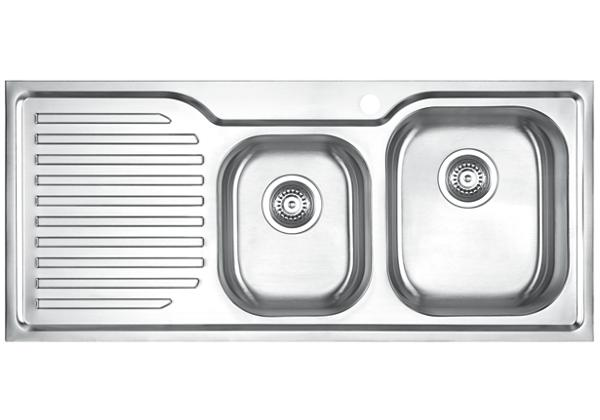 Image for Stainless Steel 1082 x 480 x 198 Double Bowl With One Drainer Top Mount Kitchen Sink from Elkay Asia Pacific